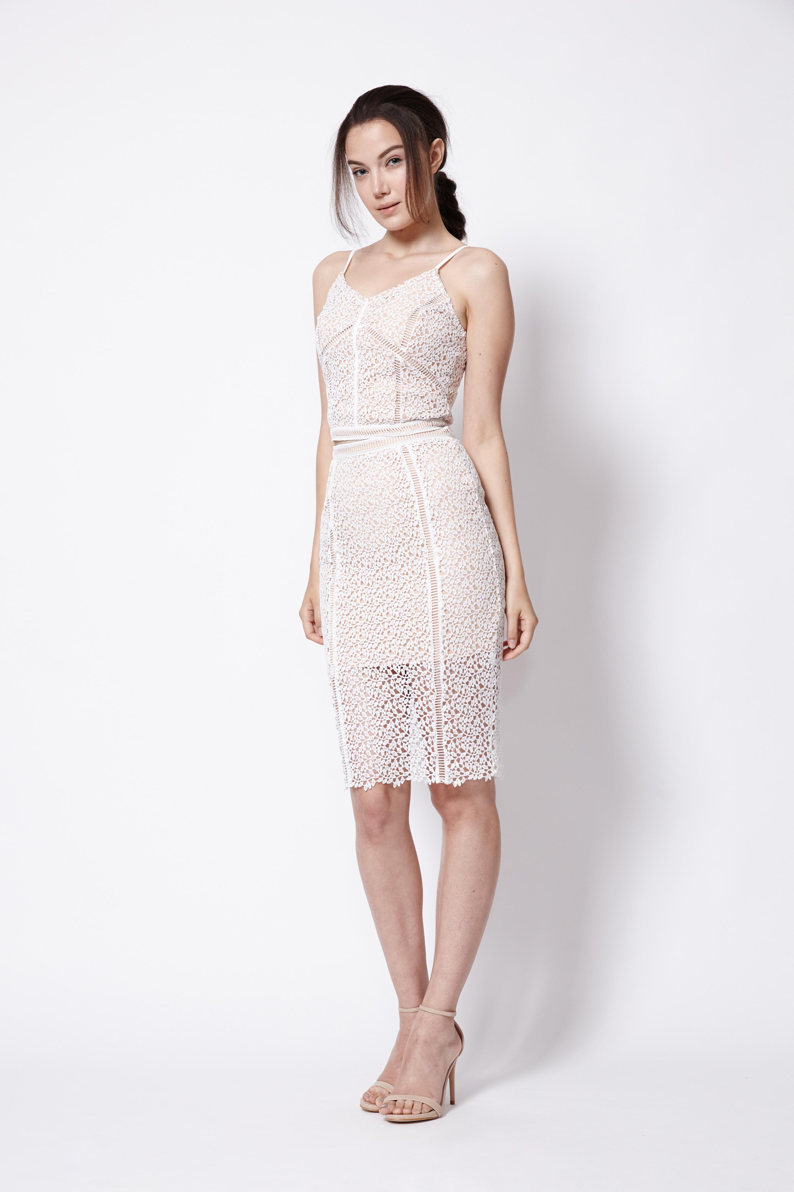 50010997a ... Chiara Fitted Midi Skirt in White. Share: Pinterest Tweet Facebook  Tumbler